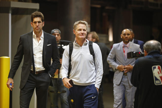 Steve Kerr said there's a totally different fell walking into Quicken Loans Arena now that LeBron James isn't on the Cavaliers. (Mark Blinch/Getty Images)