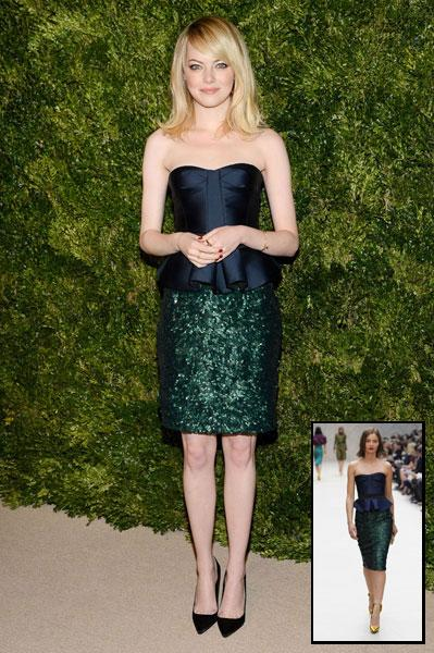 """<b>Emma Stone</b><br><br>The Amazing Spider-Man actress was this week crowned <a target=""""_blank"""" href=""""http://uk.lifestyle.yahoo.com/emma-stone-best-dressed-2012-beats-kate-middleton.html"""">best dressed celeb of 2012</a>, and then proceeded to step out in this stunning Burberry Prorsum SS13 midnight blue corset and sequined skirt for the CFDA Vogue Fashion Fund Awards in LA, earning her her coveted title.<br><b><br>[Related: <a target=""""_blank"""" href=""""http://uk.lifestyle.yahoo.com/photos/are-these-the-world-s-best-dressed-celebrities-slideshow/emma-photo-1347544645.html"""">Emma Stone - Are these the world's best dressed celebrities?</a>]</b>"""