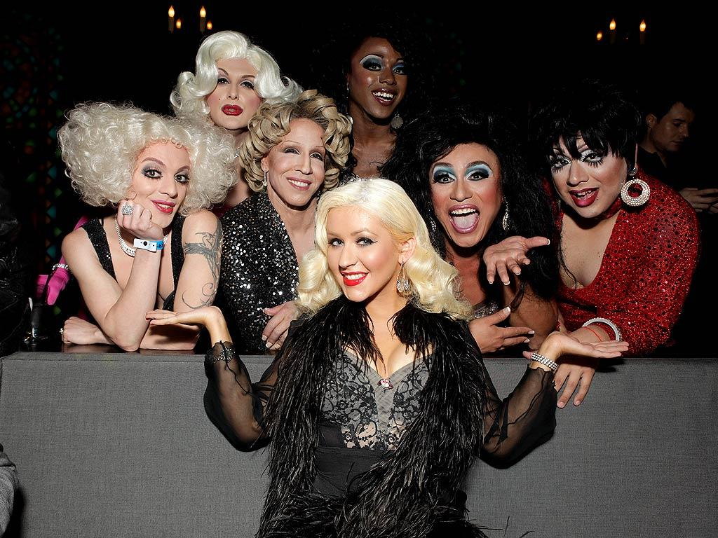 """Life was a drag for Christina Aguilera on Wednesday evening when she celebrated The Abbey's Gay Walk of Fame Honors in West Hollywood, California, with a gaggle of drag queens who dressed as stars including Bette Midler, Liza Minelli, and Marilyn Monroe. Todd Williamson/<a href=""""http://www.wireimage.com"""" target=""""new"""">WireImage.com</a> - April 20, 2011"""