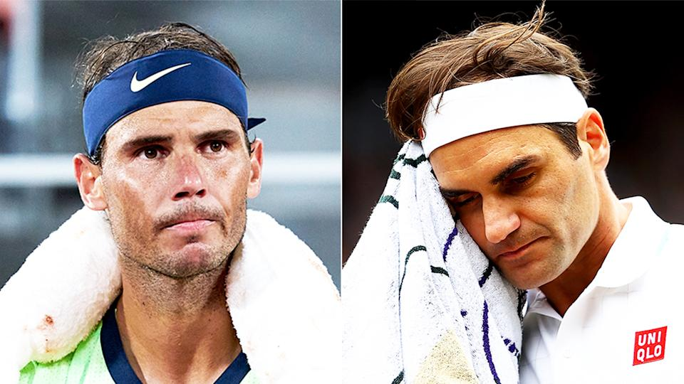 Rafael Nadal (pictured left) between games at the French Open and (pictured right) Roger Federer using a towel between points.