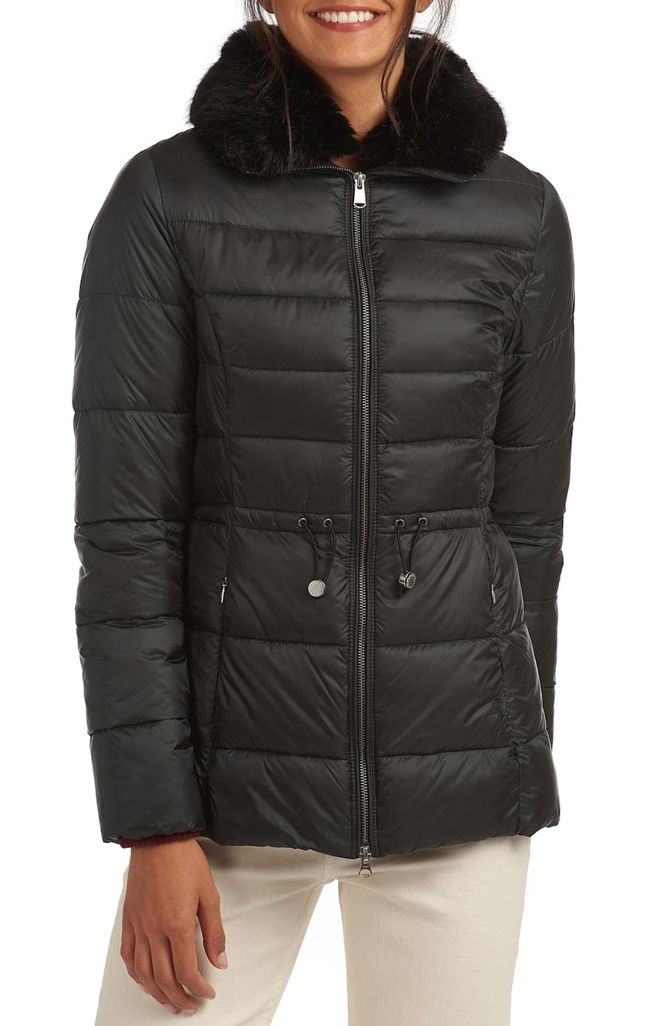 Barbour Angus Faux Fur Trim Puffer Jacket. Image via Nordstrom.
