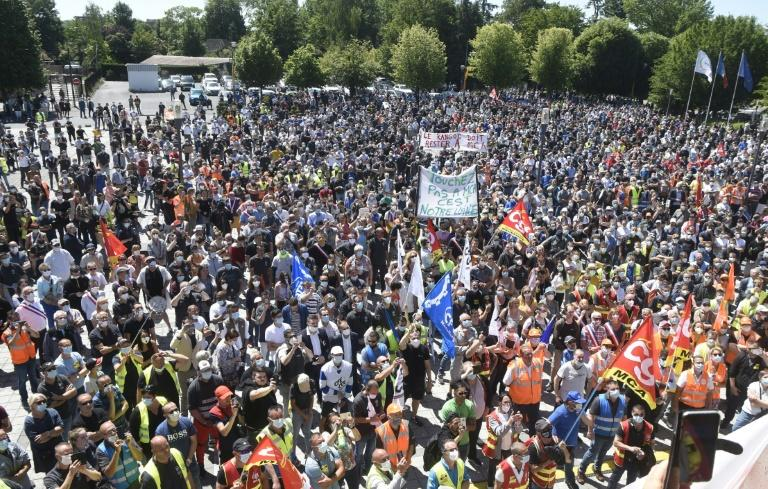 Unions said 8,000 people took part in the protest over the cuts designed to help Renault steer out of a cash crunch exacerbated by the coronavirus pandemic