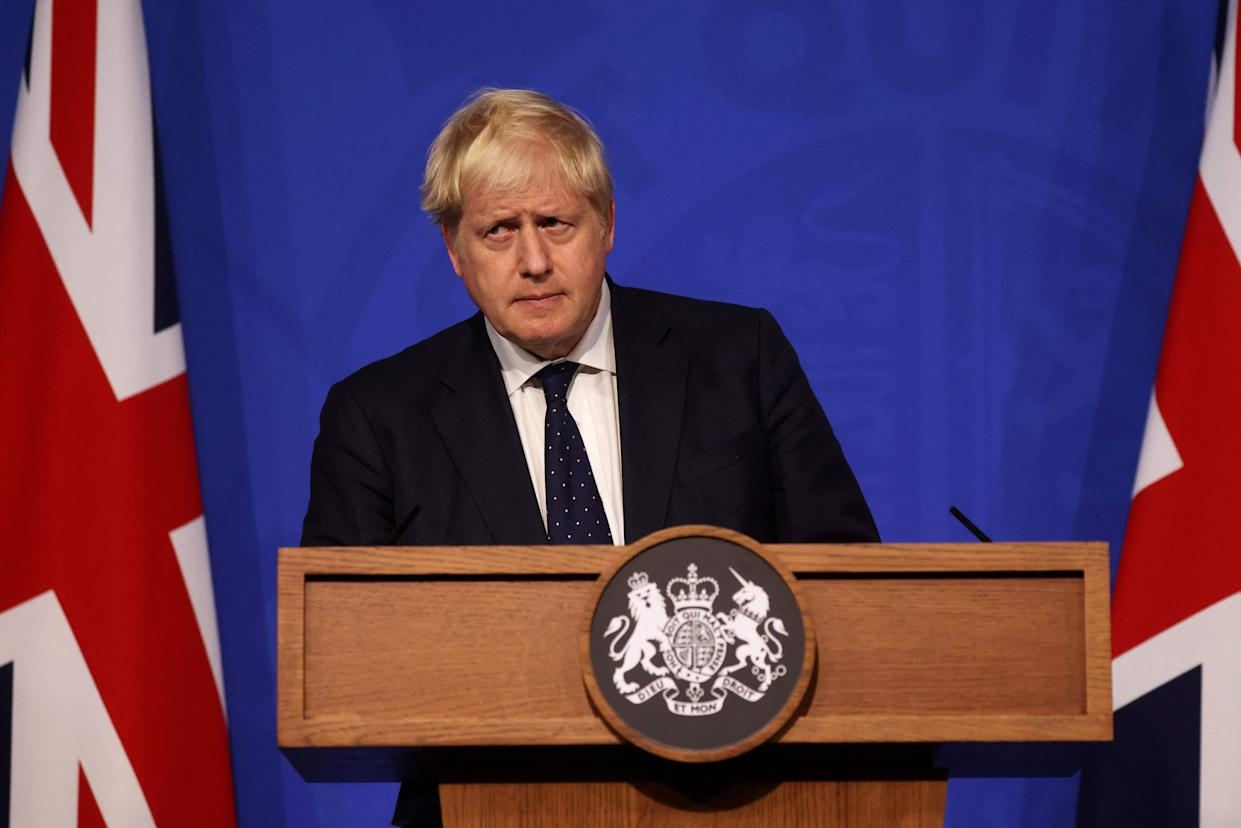 Britain's Prime Minister Boris Johnson speaks during a media briefing on the latest Covid-19 update, at Downing Street, central London on September 14, 2021. - Frontline health and social care workers, older people and the clinically vulnerable in Britain will start to receive a booster jab against Covid 19 from next week, the government said on Tuesday. (Photo by Dan Kitwood / POOL / AFP) (Photo by DAN KITWOOD/POOL/AFP via Getty Images)