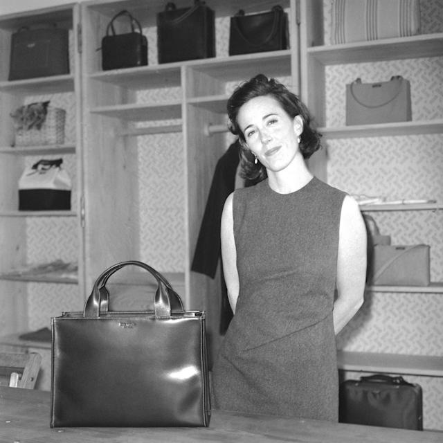 Kate Spade with a handbag of her own design in 1998 in New York. (Photo: Thomas Iannaccone/Penske Media/Rex/Shutterstock)