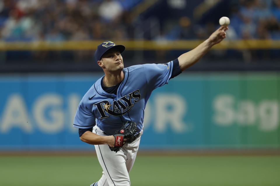 Tampa Bay Rays pitcher Shane McClanahan works from the mound against the Detroit Tigers during the first inning of a baseball game Sunday, Sept., 19, 2021, in St. Petersburg, Fla. (AP Photo/Scott Audette)