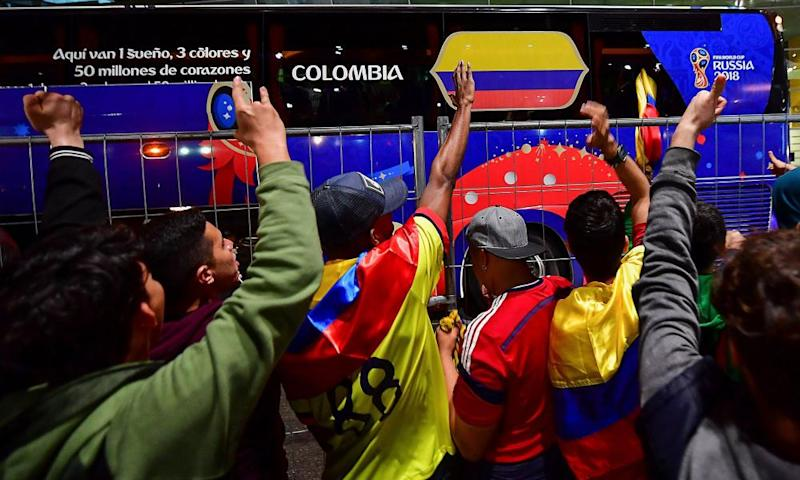 The Colombia fans were already out in force to cheer on their team at Kazan airport.