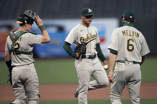 Oakland Athletics pitcher Jesus Luzardo, center, is removed from the baseball game against the San Francisco Giants by manager Bob Melvin (6) in the fourth inning Friday, Aug. 14, 2020, in San Francisco. At left is A's catcher Sean Murphy. (AP Photo/Ben Margot)
