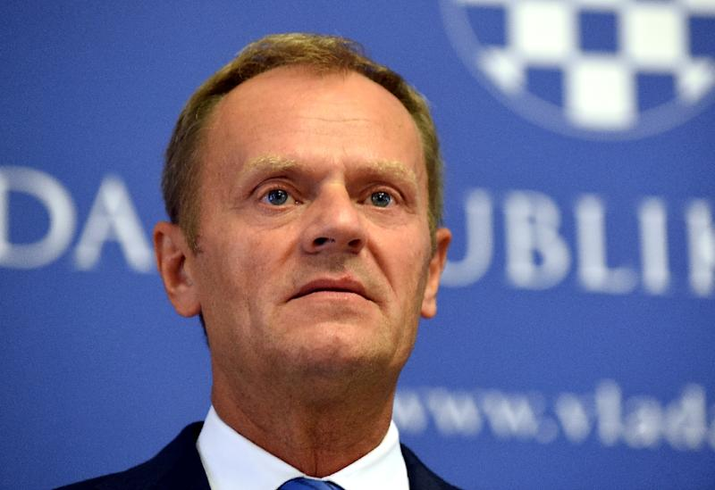 European Council President Donald Tusk speaks during a press conference in Zagreb on September 1, 2015 (AFP Photo/)