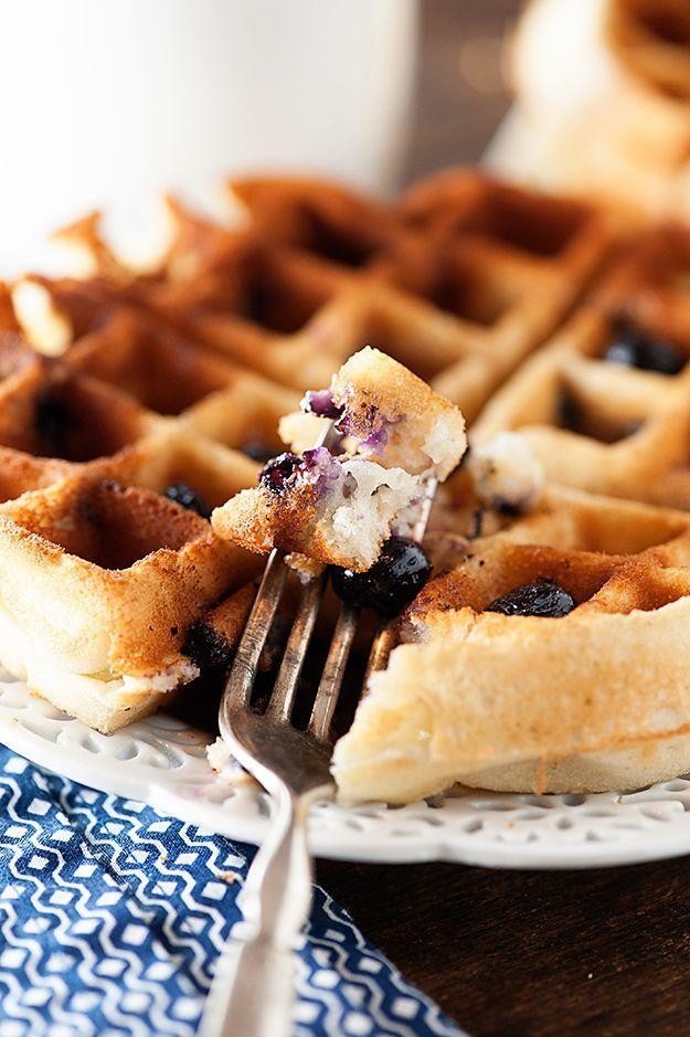 """<p>Make muffins without ever turning on your oven. </p><p>Get the recipe from <a rel=""""nofollow noopener"""" href=""""http://www.bunsinmyoven.com/2014/10/20/blueberry-muffin-waffles/"""" target=""""_blank"""" data-ylk=""""slk:Buns in my Oven"""" class=""""link rapid-noclick-resp"""">Buns in my Oven</a>.</p>"""