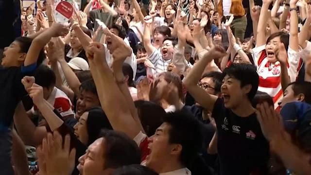 """<p>SHOWS: TOKYO, JAPAN (OCTOBER 13, 2019) (REUTERS - ACCESS ALL)</p> <p>1. VARIOUS OF JAPANESE RUGBY FANS CHEERING AND APPLAUDING AS THEIR RUGBY WORLD CUP TEAM SCORES A TRY </p> <p>2. VARIOUS OF PEOPLE WATCHING GAME</p> <p>3. PEOPLE CHEERING AND YELLING AFTER JAPANESE RUGBY TEAM WIN GAME</p> <p>4. (SOUNDBITE) (Japanese) JAPANESE RUGBY FAN, NAOKI, SAYING: </p> <p> """"I am so happy, I am very moved.""""</p> <p>5. (SOUNDBITE) (English) JAPANESE RUGBY FAN, YUKI SAKURI, SAYING: </p> <p> """"Today is the first time I watched rugby. It's different from other sports and I was so excited. I am so happy they won."""" </p> <p>6. PEOPLE APPLAUDING AND CHEERING AFTER GAME IS OVER</p> <p>STORY: Japanese rugby fans erupted in celebration on Sunday (October 13) after their team advanced to the knockout stage of the World Cup for the first time with a convincing victory over a determined Scotland.</p> <p> It was hard to imagine the Tokyo region had battened down against a powerful typhoon just 24 hours earlier as Japan's supporters brought the energy to an electric atmosphere in Yokohama Stadium, across fan zones and sports bars to cheer on the Brave Blossoms.</p> <p> Fans in the red and white striped jerseys of their team hugged, exchanged high-fives and chanted """"Nippon!"""" as the hooter sounded following the 28-21 win that punched Japan's ticket to the quarter-finals against South Africa next weekend.</p> <p> Japan is known for its love of baseball, soccer and the traditional sport of sumo but the hosts have been winning the hearts of new fans and attracting record television audiences.</p> <p> Japan has participated in every World Cup since the tournament began in 1987 but were perennial losers serving as easy prey for the Tier-1 sides, most notably in a demoralising 145-17 loss to New Zealand in 1995.</p> <p> That all changed in 2015 in England when Japan stunned South Africa and just missed out on reaching the quarter-finals despite having won three matches. </p> <p> Scotland was the only s"""