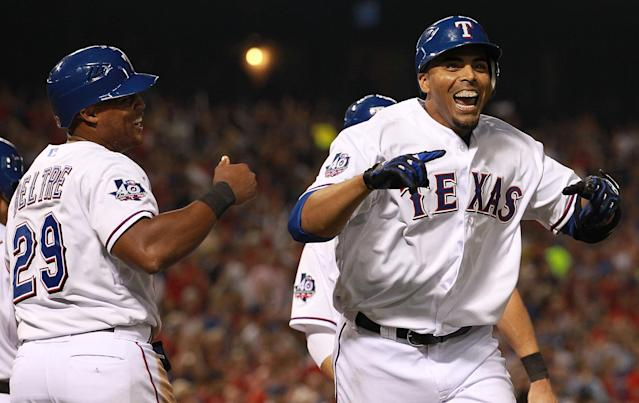 ARLINGTON, TX - APRIL 09: Nelson Cruz #17 of the Texas Rangers celebrates a three run home run against the Seattle Mariners at Rangers Ballpark in Arlington on April 9, 2012 in Arlington, Texas. (Photo by Ronald Martinez/Getty Images)