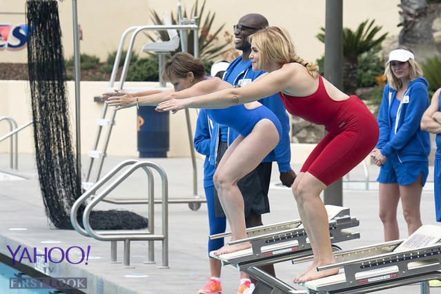 <p>Carteris and D'Abo are on their marks, ready to get set, and dive in for the swimming relay.<br><br>(Photo Credit: Byron Cohen/ABC) </p>