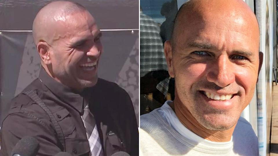 Anthony Mundine is seen here reacting after a lovely message from surfing legend Kelly Slater.