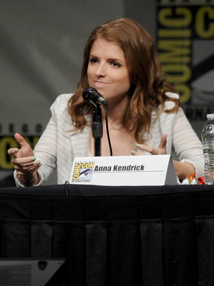 """SAN DIEGO, CA - JULY 13:  Actress Anna Kendrick speaks at the """"Paranorman: Behind The Scenes"""" panel during Comic-Con International 2012 at San Diego Convention Center on July 13, 2012 in San Diego, California.  (Photo by Kevin Winter/Getty Images)"""