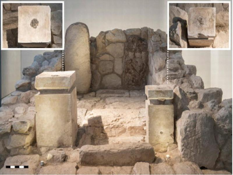 Frontal view of the cella of the shrine at Arad, as rebuilt in the Israel Museum from the original archaeological finds. The inserts show a top−down view of the altars: on the left, the larger altar; on the right, the smaller altar. Note the visible black residue: Credit: The Israel Museum, Laura Lachman
