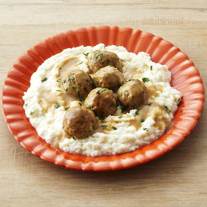 """<p>Satisfy your comfort food cravings with this lighter take on meatballs and mashed potatoes.</p><p><strong><a href=""""https://www.thepioneerwoman.com/food-cooking/recipes/a32554880/turkey-swedish-meatballs-with-cauliflower-mash-recipe/"""" rel=""""nofollow noopener"""" target=""""_blank"""" data-ylk=""""slk:Get the recipe."""" class=""""link rapid-noclick-resp"""">Get the recipe.</a></strong> </p>"""