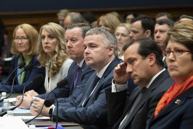 U.S. Olympic Committee Acting CEO Susanne Lyons, USA Gymnastics President and CEO Kerry Perry, USA Swimming President and CEO Tim Hinchey, USA Taekwondo CEO Steve McNally, USA Volleyball CEO Jamie Davis, and U.S. Center for SafeSport President and CEO Shellie Pfohl as they prepared to testify Wednesday. (AP)