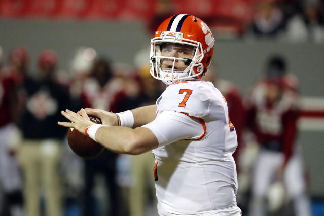Clemson's Chase Brice (7) passes the ball against North Carolina State during the second half of an NCAA college football game in Raleigh, N.C., Saturday, Nov. 9, 2019. (AP Photo/Karl B DeBlaker)