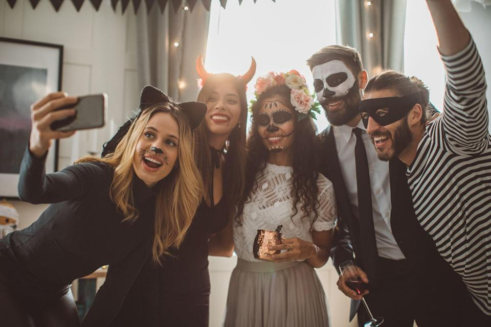 """<p>Halloween is <a href=""""https://www.womenshealthmag.com/food/a19984587/healthy-halloween-candy/"""" rel=""""nofollow noopener"""" target=""""_blank"""" data-ylk=""""slk:all about sweets"""" class=""""link rapid-noclick-resp"""">all about sweets</a>—spending time with your sweetie, that is. Whether you're hitting up a bunch of costume parties or trick or treating with the kiddos, you and your boo (ha, get it?) need the perfect 'fits. After the less-than-happening Halloween of last year, the pressure is<em> on</em>. Not only do you have to dress to impress, but you also need to make up for lost time.</p><p>Considering <a href=""""https://www.womenshealthmag.com/food/g23364399/pumpkin-spice-snacks/"""" rel=""""nofollow noopener"""" target=""""_blank"""" data-ylk=""""slk:pumpkin spice is back"""" class=""""link rapid-noclick-resp"""">pumpkin spice is back</a> in coffee shops, it's officially time to hunt for the ultimate All Hallow's Eve ensemble. You want a <a href=""""https://www.womenshealthmag.com/relationships/g22800801/celebrity-halloween-costumes-couples/"""" rel=""""nofollow noopener"""" target=""""_blank"""" data-ylk=""""slk:couples Halloween costume"""" class=""""link rapid-noclick-resp"""">couples Halloween costume</a> that reflects both your personalities and interests, whether that's a favorite fictional duo or that celeb pair you're convinced would absolutely <em>love </em>going to lunch with you guys IRL. If pop culture's not your vibe, you can always go the crowd-pleaser route with a food-inspired costume. (After all, you two really do go together like PB & J!) </p><p>Maybe you dress up as classic time-traveling twosome Marty McFly and Doc Brown, or try on <em>Toy Story's</em> Woody and Bo Peep for size. (Hot tip: Double check that you're not <em>actually</em> buying doll-size clothes when you order…) If you're a couple who loves a good pun, go as a deer and headlights. Want s'more costume ideas? Go as the classic campfire treat (yep, the costume exists!) and bring a tray of homemade s'mores with you. You'll be the most popular people at """