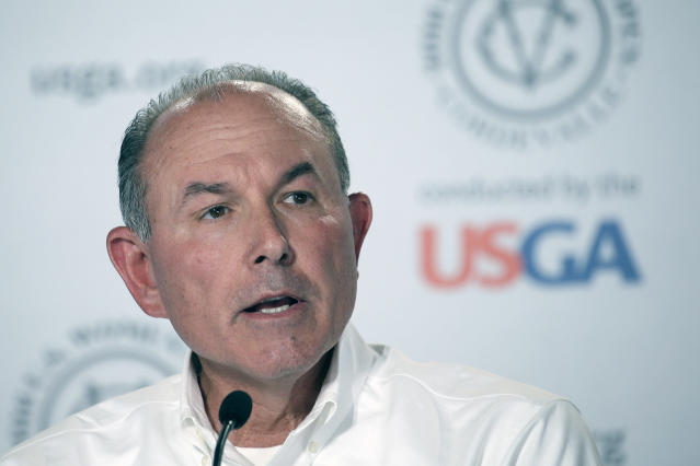 """FILE - In this July 10, 2016, file photo, John Bodenhamer, the USGA senior managing director of championship, answers questions during a press conference in San Martin, Calif. The COVID-19 pandemic, which already has postponed the U.S. Open from June to September, has forced the USGA to do away with qualifying for the first time since 1924. """"As you can imagine, this was an incredibly difficult decision, as qualifying is a cornerstone of USGA championships,"""" said Bodenhamer. (AP Photo/Eric Risberg)"""