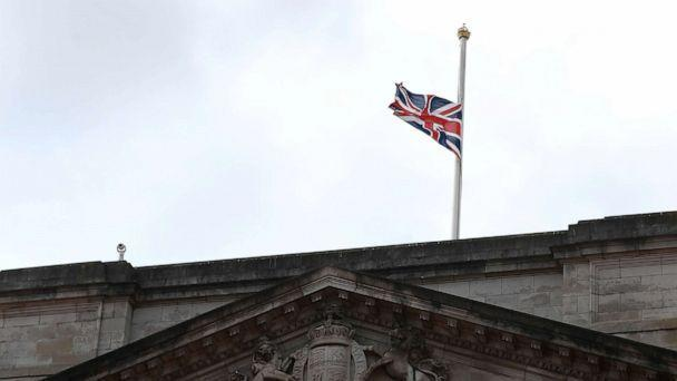 PHOTO: The Union Jack flag flies at half-mast on top of Buckingham Palace after it was announced that Britain's Prince Philip, husband of Queen Elizabeth, has died at the age of 99, in London, April 9, 2021.  (Hannah Mckay/Reuters)