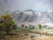 This image provided by Lisa Reilly, a granddaughter of Giichi Matsumura, on Friday, Feb. 5, 2011, shows a watercolor painting of California's Mount Williamson by Matsumura. Giichi Matsumura, who died in the Sierra Nevada on a fishing trip while he was at the Japanese internment camp at Manzanar, was reburied in the same plot with his wife 75 years later after his remains were unearthed from a mountainside grave. (Lisa Reilly via AP)