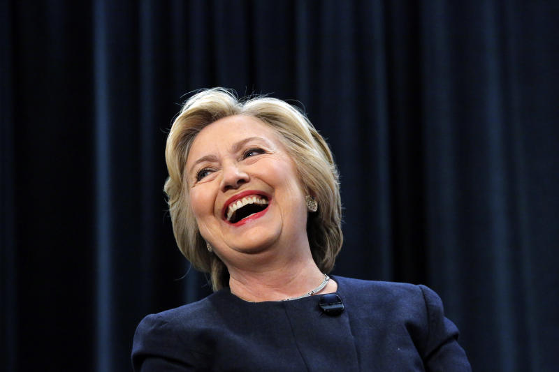 """""""Maybe he'd forgotten, because he didn't come equipped with any garlic or wood stakes,"""" former Secretary of State Hillary Clinton writes of her exchange with Ryan Zinke on Jan. 20. (Lucas Jackson / Reuters)"""