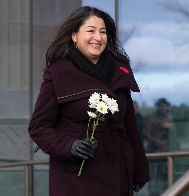 Liberal MP Maryam Monsef walks to a Liberal caucus meeting in Ottawa on Nov. 7, 2019.