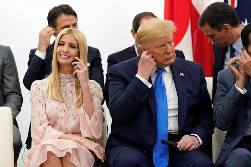 U.S. President Donald Trump and White House senior advisor Ivanka Trump attend a women's empowerment event during the G20 leaders summit in Osaka, Japan, June 29, 2019. REUTERS/Kevin Lamarque