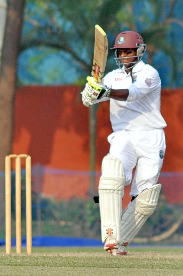 West Indies player S Chanderpaul in action during Day one of practice match between West Indies and Uttar Pradesh Cricket Association XI at the Jadavpur University Ground in Kolkata on Oct 31, 2013. (Photo: IANS)