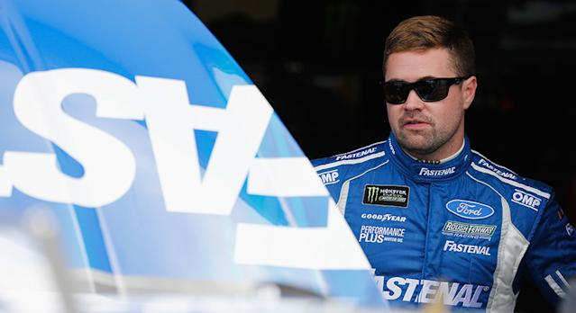 DAYTONA BEACH, FL - FEBRUARY 16: Ricky Stenhouse Jr., driver of the #17 Fastenal Ford, stands in the garage during practice for the Monster Energy NASCAR Cup Series Daytona 500 at Daytona International Speedway on February 16, 2018 in Daytona Beach, Florida. (Photo by Brian Lawdermilk/Getty Images) | Getty Images