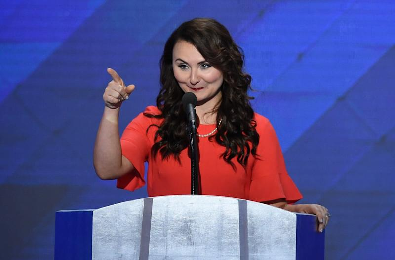Jennifer Pierotti Lim, co-founder of Republican Women for Progress, speaking at the Democratic National Convention in 2016.