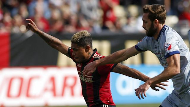 The Atlanta United striker was barely onside on his first goal and just snuck his second in at a narrow angle but both counted in his side's rout