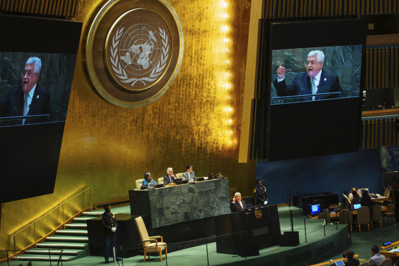 Palestinian President Mahmoud Abbas addresses the United Nations General Assembly at U.N. headquarters Thursday, Sept. 26, 2019.  (AP Photo/Kevin Hagen).