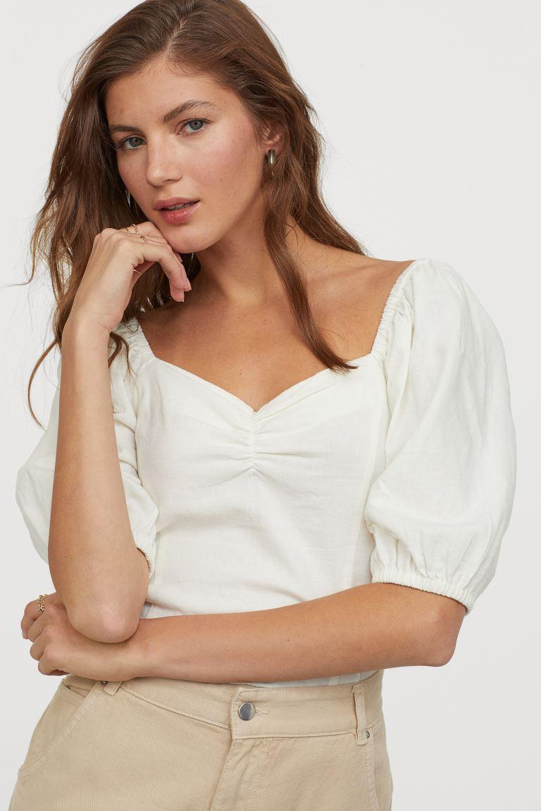 H&M Linen-blend Top in cream