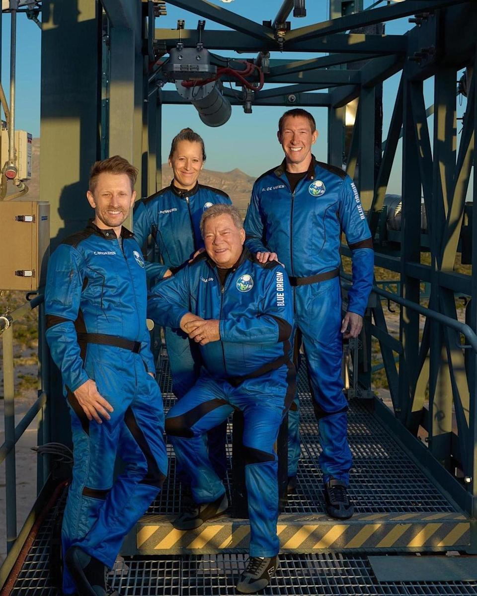 """<p>William Shatner is joined by Audrey Powers, Chris Boshuizen and Glen de Vries as they get ready to board <a href=""""http://people.com/tag/jeff-bezos"""" rel=""""nofollow noopener"""" target=""""_blank"""" data-ylk=""""slk:Jeff Bezos"""" class=""""link rapid-noclick-resp"""">Jeff Bezos</a>' Blue Origin New Shepard vehicle. Shatner's historic flight will make him the oldest person to ever go to space at 90 years old.</p>"""