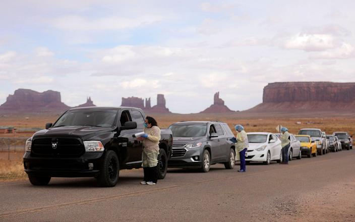 People line up to get tested for the coronavirus in Monument Valley - Kristin Murphy/The Deseret News via AP