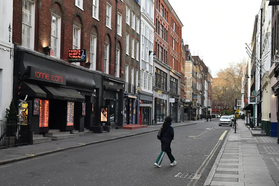 Frith Street in Soho, London is virtually empty the day after Prime Minister Boris Johnson ordered pubs and restaurants across the country to close as the Government announced unprecedented measures to cover the wages of workers who would otherwise lose their jobs due to the coronavirus outbreak.