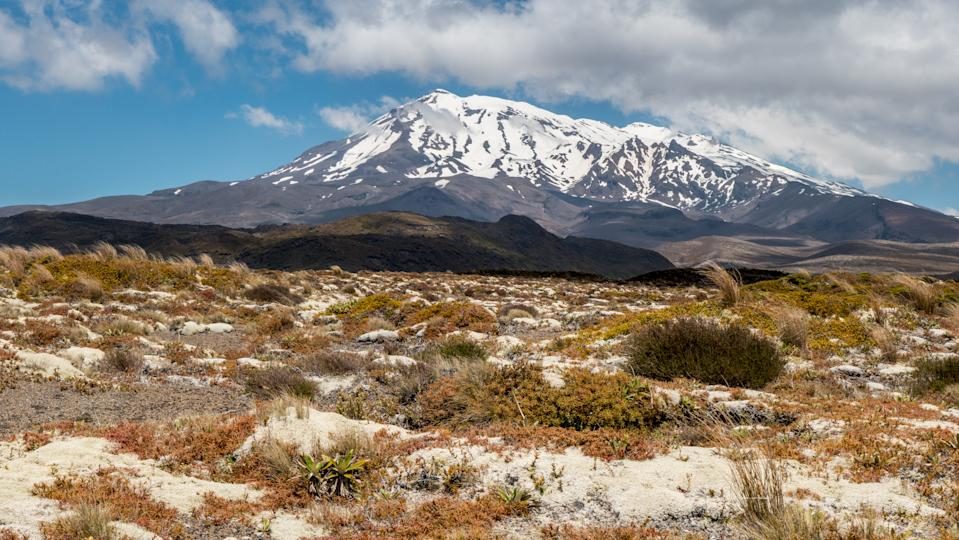Tongariro national park, New Zealand: a view of the  Mount Ruapehu (volcano). Mount Ruapehu and Mount Ngauruhoe are two of the most active composite volcanoes in the world, with Mount Ruapehu last erupting in 1996 and Mount Ngauruhoe in 1975.