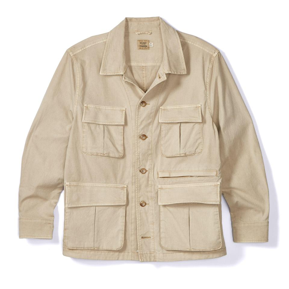 """<p><strong>Flint and Tinder</strong></p><p>huckberry.com</p><p><strong>$198.00</strong></p><p><a href=""""https://go.redirectingat.com?id=74968X1596630&url=https%3A%2F%2Fhuckberry.com%2Fstore%2Fflint-and-tinder%2Fcategory%2Fp%2F60958-desert-field-jacket&sref=https%3A%2F%2Fwww.esquire.com%2Fstyle%2Fmens-fashion%2Fg33483963%2Fhuckberry-summer-sale%2F"""" rel=""""nofollow noopener"""" target=""""_blank"""" data-ylk=""""slk:Buy"""" class=""""link rapid-noclick-resp"""">Buy</a></p><p>C'mon. You can't really fault me for including shit like this field jacket when there's that many pockets on the thing. You know I'm a sucker for the pockets. </p>"""