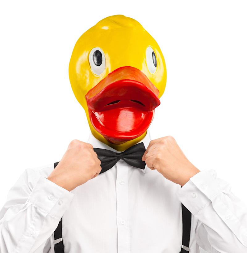 """Whether you're Huey, Dewey or Louie (does it really matter?), people will definitely say """"Woo hoo!"""" to this r<a href=""""http://www.stupid.com/Rubber-Duckie-Mask.html"""" target=""""_blank"""">ubber duck mask </a>that has no connection at all to """"Duck Tales"""" (so back off, Disney!). You can't see very well out of the damn thing, but that's a small price to pay for fashion."""