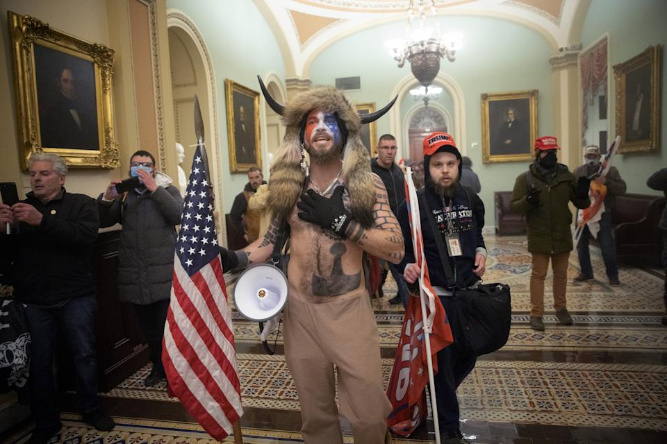 A pro-Trump mob confronts U.S. Capitol police outside the Senate chamber of the U.S. Capitol Building on January 06, 2021 in Washington, DC. (Win McNamee/Getty Images)