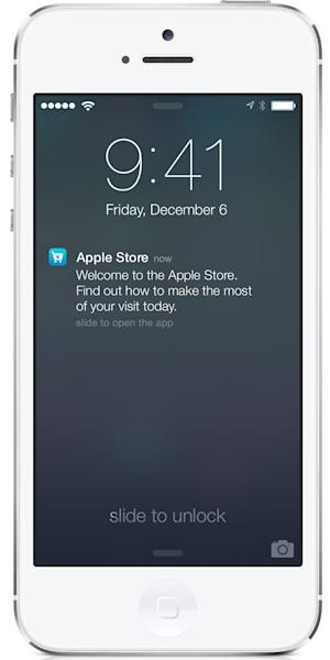 This undated photo provided by Apple shows the screen on an iPhone using Apple's iBeacon, offering precise location technology. On Friday, Dec. 6, 2013, Apple Inc. will begin using iBeacon, a part of its iOS 7 mobile software, to send shoppers inside its U.S. stores messages about products, events and other information based where they are in the store. (AP Photo/Apple)