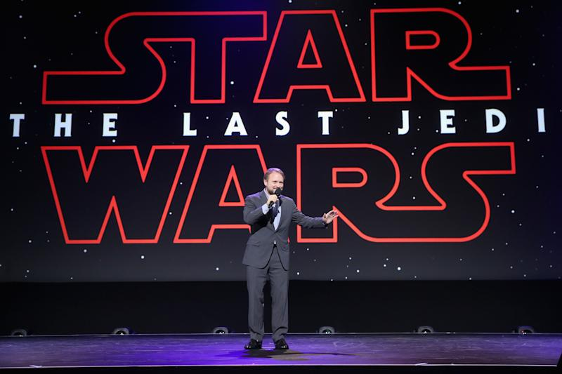 Director Rian Johnson of STAR WARS: THE LAST JEDI took part in the Walt Disney Studios live action presentation at Disney's D23 EXPO 2017 in Anaheim, California July 15, 2017. | Jesse Grant—Getty Images for Disney