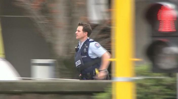 A police officer is seen after reports that several shots had been fired at a mosque, in central Christchurch, New Zealand March 15, 2019, in this still image taken from video. (Photo: TVNZ/via REUTERS TV )