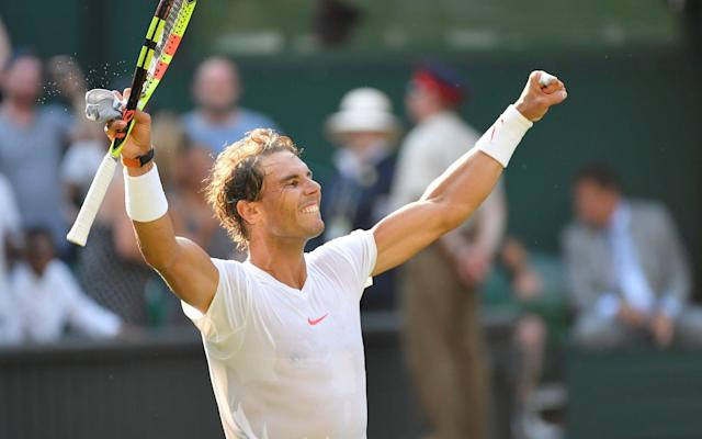Rafael Nadal is into the quarter-finals of Wimbledon after a comfortable victory over world No 102 Jiri Vesely, winning 6-3, 6-3, 6-4. It is unfamiliar territory for Rafael Nadal, who has been through more injuries than he can count since the last time he got this far at Wimbledon in 2011. He goes on to face either Juan Martin Del Potro or Gilles Simon. Man-mountain Vesely struggled whenever Nadal fought his way past the Czech's massive serve, and the Spaniard always looked more comfortable in the rallies. The result keeps alive dreams of a Roger Federer vs Nadal final, 10 years after what many consider to be the greatest Wimbledon final of all time. Both players are yet to drop a set yet in this year's tournament, but something will have to give eventually. As for Vesely, the fourth round at Wimbledon equalled his best performance at a grand slam, and he will look to build upon that at next month's US Open. 6:34PM Nadal wins 6-3, 6-3, 6-4 Ace! He saves another and we're back at deuce. Advantage Vesely now. Wasted with an unforced error. Now another Match point Nadal. Rollercoaster. But that's match as Vesely goes wide with another unforced error on the forehand. Nadal wins 6-3, 6-3, 6-4 6:31PM Nadal 6-3, 6-3, 5-4 Vesely* (*next server) Nadal staring down the barrel of a first Wimbledon quarter-finals in seven years. Fans one step closer to a Fed Nadal final. 0-15 and Nadal brings it even closer. 0-30 with a stunning passing shot. Vesely has just struggled whenever Nadal brings him to the net. Nadal wide for 15-30. Not dead yet. Nadal misfires again with a wayward forehand that lets Vesely back into the game. 30-30. 40-30 and the Czech is still alive. A ti-break would favour him you feel. He smashes the net though for deuce. The grunting decibel levels have doubled in this game. The groaniest of grunts as Vesely sends a forehand wide. Match point Nadal! Saved with yet another huge serve. Match point again ... 6:24PM Nadal 6-3, 6-3, 5-4 Vesely* (*next server) Nadal hits a few sweet serves that Vesely barely touches and it's 40-0. A short rally and Nadal holds to love. Can he win it now. 6:22PM Nadal* 6-3, 6-3, 4-4 Vesely (*next server) Nadal takes the first point as Vesely launches long. The next is not so easy and Nadal is pommeled into submission. 15-15. Chalk from Vesely! Nadal cutting a frustrated figure. He wants this to end. 30-15. Back level at 30-30 after Nadal manufactures a smash. All that work though, and Vesely just lands a huge serve that sets up a smash of his own. Nadal long and it's a Vesely hold. 6:16PM Nadal 6-3, 6-3, 4-3 Vesely* (*next server) Nadal tries to go through the legs but it doesn't make it over the net. 15-15. Oh super rally. Vesely just stands there by the net punching Nadal all over the court but the world No 1 somehow finds a way past him. Vesely then fluffs an easy drop and Nadal takes the game with a loud 'Come on!'...what happened to 'Vamos'? 6:12PM Nadal* 6-3, 6-3, 3-3 Vesely (*next server) Vesely now swaggering about the place and he lands an ace to back it up. Then he gets to confident and tries a drop shot that doesn't reach the net. Stick to your aces man. Nadal passes him, 15-30, he remembers what Vesely did to his water bottle. Now two break points Nadal. He's absolutely bottled it here. Show Ian Poulter again! Controversial ... a ball comes out of Vesely's pocket, during a rally and the point is called off. Never seen that before. Nadal takes it. Vesely's short time on top comes to an end. Nadal breaks 6:07PM Nadal 6-3, 6-3, 2-3 Vesely* (*next server) The crowd murmur in quiet disapproval as a Nadal forehand goes long for 30-15. He repays them with an ace. Ian Poulter is in the crowd, can Vesely channel his 2012 Ryder Cup heroics and launch a comeback? Wait, can he?! Vesely fights back to deuce and the crowd get behind him. Now it's break point Vesely, huge point. Nadal nets! Vesely breaks 6:02PM Nadal* 6-3, 6-3, 2-2 Vesely (*next server) Steve Redgrave in the crowd. Never made it to the first round of Wimbledon but has five Olympics gold medals anyway. Nadal forces his way into 15-15 after sending Vesely the wrong way on a forehand. Vesely makes no mistake with a rocket serve for 30-15. Now 40-15 after Nadal's wrists almost crumble behind the force of more ridiculous serves. Game Vesely 5:58PM Nadal 6-3, 6-3, 2-1 Vesely* (*next server) Vesely interferes with Nadal's water bottle. Perhaps the biggest sin in tennis. He just knocks it down. Outrageous. Nadal is angry. He punishes Vesely by racing into a 40-0 lead. Vesely gets to 40-15 as briefly loses his water-bottle-inspired rage. Oh, it's back. Game Nadal. You have to make narratives where you can in a game like this. 5:55PM Nadal* 6-3, 6-3, 1-1 Vesely (*next server) Nadal with a forehand so wide it looks like it was meant for someone else. Someone in the crowd shouts 'Go on Tim', which is surely now the oldest joke in sport. Vesely, in the meantime, holds to love. 5:52PM Nadal 6-3, 6-3, 1-0 Vesely* (*next server) Is there anything left of Vesely? Nadal starts this one as he finished the last, racing into a 30-0 lead. Vesely with some minimal resistant and it's 40-15. Nadal looks almost offended that this match is still going. 40-30! Furious. Ace. Happy Nadal is back and he returns to his chair. 5:46PM Nadal 6-3, 6-3 Vesely* (*next server) Nadal has lost six points on serve today, and three of them came during on game. Vesely goes 0-15 down. Is he struggling to believe? Oh boy, a double fault and it's 0-30. Is this the end of the big man? 0-40 with a tragically long forehand. Three set-points. The first is saved. Nadal looks to the skies. Second and he takes it. A comfortable set that, and Nadal looks on course for the quarters. Nadal takes the second set 6-3 5:43PM Nadal 6-3, 5-3 Vesely* (*next server) The umpire calls time and Nadal reluctantly accepts. Tennis just an afterthought to the fun he has playing with his water bottles. He's pretty good at the tennis stuff though, and shows it after smashing a cross-court forehand on a ludicrous angle. Just in. 40-0 before I even have a chance to look back at the screen. That's game. 5:40PM Nadal* 6-3, 4-3 Vesely (*next server) Vesely wins the first point after the greatest rally Centre Court has ever seen. Just kidding, it's an ace. Nadal stops him in his tracks for 30-15. Another ace, 40-15. Another ace, game. 5:37PM Nadal 6-3, 4-2 Vesely* (*next server) Nadal takes what feels like years to serve, but finally he does, and it's an ace that has the Centre Court chalk bouncing all over the place. Vesely interrupts the next rally for a challenge, it's in! It's in, and Vesely apolgises, what a gent! Nadal ace for 40-15. An awful double fault gives Vesely hope, and he takes that hope and turns it into deuce. Opportunity knocks! Nadal looks off his rhythm in this one. His precious rhythm. Oh wait, his rhythm is back. A big smash gives him advantage, and then an outrageous cross-court backhand seals the game. 5:30PM Nadal* 6-3, 3-2 Vesely (*next server) These ball boys and girls are the bravest souls on earth. Luckily Nadal saves them with some nifty returns in this one and takes us to 0-20. Vesely in a bit of trouble. Now it's break point and all the early promise is slowly fading away. And a supreme Nadal return gives him a break to love. Wonderful. Nadal breaks 5:28PM Nadal 6-3, 2-2 Vesely* (*next server) A wonderful Nadal ace takes us to 40-15 as Vesely struggles to get involved in another of the Spaniard's service games. He takes the game. Easy. Smells like a tie-break already. 5:23PM Nadal* 6-3, 1-2 Vesely (*next server) Nadal with a forehand from the gods as Vesely belts a wide serve only to see it fly back past him. 30-30, can Nadal sneak a break point? No, nets, and Nadal is not happy with himself. Game Vesely who's starting to look a little brighter. 5:18PM Nadal 6-3, 1-1 Vesely* (*next server) A great rally ends in an unfortuante unforced error from Vesely. That's the best rally of the game though, as Nadal looks to make Vesely's enormous frame struggle. Game Nadal as he works his wet up to the net and Vesely doesn't bother running for a drop shot. 5:15PM Nadal* 6-3, 0-1 Vesely (*next server) Does Vesely have a plan B? He starts off with a serve, but Nadal takes us to 15-15 after forcing Vesely into another one of those troublesome rallies. Some big shouts from Vesely as we go 30-15 and Nadal misses a passing shot ... should've done better. 40-15 with a big serve. 40-30 and does Nadal have a look in here? No, game Vesely. 5:10PM Nadal 6-3 Vesely* (*next server) Nadal winning all the baseline rallies, and has capitalised when it matters on a odd poor Vesely service game. Another great rally and this time it's Vesely, who finds a way past Nadal from the baseline. Much better from Vesely as he takes Nadal into another bsaeline rally, but when it comes to the net Nadal seals it with a drop. And it's game as Vesely nets. Nadal takes first set 6-3 5:06PM Nadal* 5-3 Vesely (*next server) Nadal fights to make it 30-15, but Vesely sveres and volley his way to game point. The big man gets a lot of let service chords as the tennis ball just forces it's way over the net most of the time. He takes the game with an easy hold. 5:02PM Nadal 5-2 Vesely* (*next server) A rally! An actual rally! Nadal wins it though, and then seals with an ace. Another Nadal service game to love. 5:00PM Nadal* 4-2 Vesely (*next server) Vesely a bit of a one-trick pony at the moment, but his serve is causing Nadal a few problems, especially when the return comes short. A monster serve almost breaks Nadal's racket for 40-15. Repeat, and it's game. 4:56PM Nadal 4-1 Vesely* (*next server) Nadal races to 40-0 and that hardly constitutes a game. Vesely not doing enough on the Nadal serve at all. There are very few rallies in this one. 4:54PM Nadal* 3-1 Vesely (*next server) Nadal is back on court two seconds before the umpire calls time. Scenes. Nadal gets his first point off the Vesely serve after the Czech faults, but Vesely follows up with a ridiculous ace. A massive second serve and it's 30-15. 113mph. Wow. Nadal basically in the crowd to receive this serve, but it works for 30-30. The pair exchange unforced errors for deuce, and Nadal somehow gets back a monster Vesely serve, which takes him by such surprise he whacks it ride. Break point. Double fault! Oh Dear. Nadal breaks 4:47PM Nadal 2-1 Vesely* (*next server) Vesely gets a point on the Nadal serve, and almost has two but Nadal sends a forehands past him at the net. Vesely then looks to pass Nadal but the two-time champion reaches it and takes us to 40-15. A cross-court forehand and it's game Nadal. 4:43PM Nadal 1-1 Vesely* (*next server) It's big. Nadal barely gets a racket on this game. Another hold to love. 4:42PM Nadal 1-0 Vesely* (*next server) Nadal kicks us off with a wonderful drop shot. Very nice indeed. Vesely finds the net. Then an ace. Vesely long. That was quick. Now let's see that Vesely serve. 4:39PM Nadal* 0-0 Vesely (*next server) Rafa to serve 4:35PM Nadal must behave Rafael Nadal warned twice for delays in the last round, as his pre-game, mid-game, post-game routines took a little too long for the umpire's liking. I remember having to take my watch off during Physical Education at school. Perhaps it's not Rafa's fault? 4:31PM Players emerge Here we go. Rafael Nadal an icon of concentration. Vesely waiting for him at the net ... surprise! 4:25PM Rafael Nadal takes to Centre Court 10 years ago, Wimbledon saw one of the greatest finals ever, as Rafael Nadal ended Roger Federer's remarkable run to claim his first title in five breathtaking sets. This year, there's talk of a rematch ... Both men raced into the last 16 without dropping a set, with Roger Federer now into the quarter-finals having faced his first break-point earlier today in a straight sets victory over Adrian Mannarino. The Swiss has been imperious even by his standards, but Nadal is keeping pace, and might be the only player equipped to stop Federer in his tracks. Although Nadal's spent a little longer on court, he is on the verge of his first Wimbledon quarter-final since 2011, having managed to work up some early tournament momentum that has deserted him in the past, and the Spaniard will be a big favourite today. Rafael Nadal is battling to reach his first quarter-finals in seven years Credit: Action Plus The man standing in his way is Czech Jiri Vesely, world No 102, who's equaled his best ever showing at a Grand Slam by reaching the 4th round. He stands tall at 6 ft 6 inches and will look to exploit Nadal's relative 'weakness' on grass with some big serves that'll zoom off the Centre Court turf. But as we know, Nadal can hit a pretty sweet forehand himself, and will fancy himself as the rallies get longer. The two have played just once before, in 2015 in Hamburg, which Nadal took in straight sets. The world wants a Federer vs Nadal final, but don't start dreaming just yet. This won't be easy.