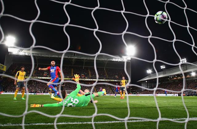 <p>Andros Townsend hammers home Palace's first goal</p>