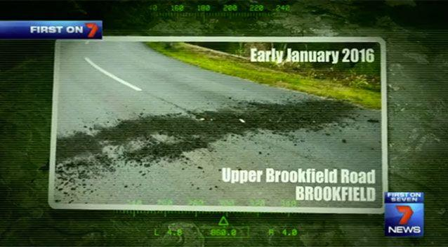 Gravel was thrown across a road in Brookfield on a popular cycling spot. Source: 7 News