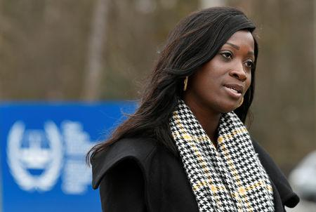Former Ivory Coast President Laurent Gbagbo's daughter Marie Laurence is seen during an interview in front of the International Criminal Court in The Hague