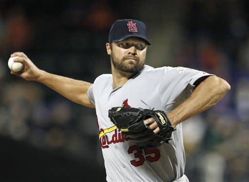 St. Louis Cardinals starting pitcher Jake Westbrook delivers in the first inning against the New York Mets during their baseball game at Citi Field in New York, Sunday, June 3, 2012. (AP Photo/Kathy Willens)